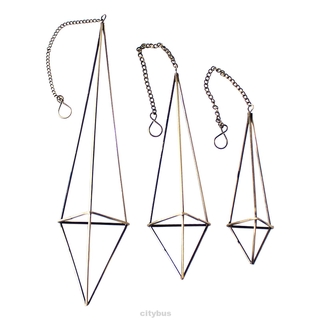3pcs Geometric Home Decor Office Bronze Freestanding Triangular Iron Wire With Chains Himmeli Hanging Air Plant Holder