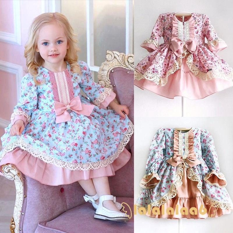 Đầm công chúa dài tay vải cotton viền ren xinh xắn cho bé gái