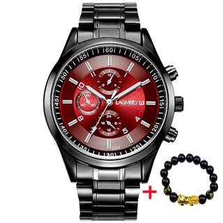 Đồng hồ nam LAGMEEY L9966 dây thép đen cao cấp - 3 màu mặt thời trang + Tặng kèm vòng tay cao cấp thumbnail