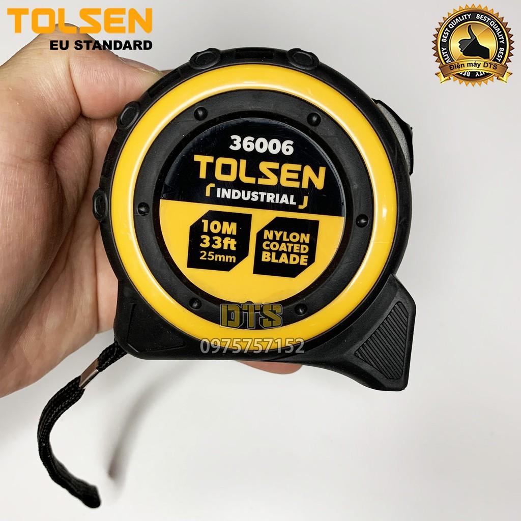 Thước rút, thước cuộn thép công nghiệp TOLSEN 10m tích hợp nam châm, vỏ bọc cao su cao cấp chống sốc Tiêu chuẩn châu Âu
