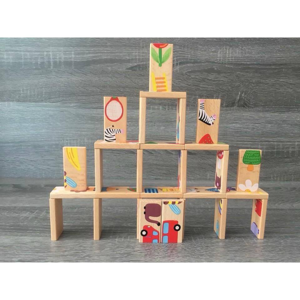 Bộ đồ chơi gỗ xếp hình Domino Phát triển trí thông minh