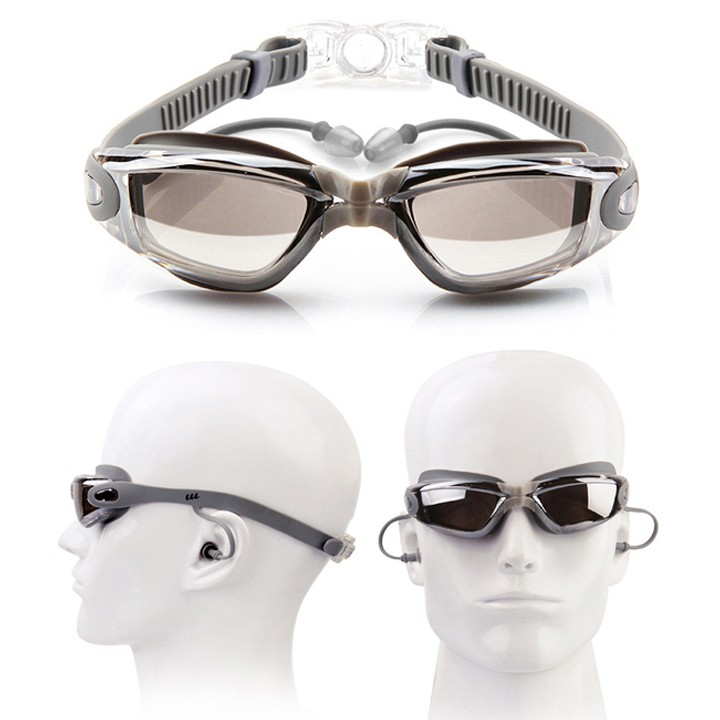 Kính bơi nam nữ chống đọng nước tia UV không tối Kiếng bơi lội tráng gương kèm nhét tai kẹp mũi và hộp đựng