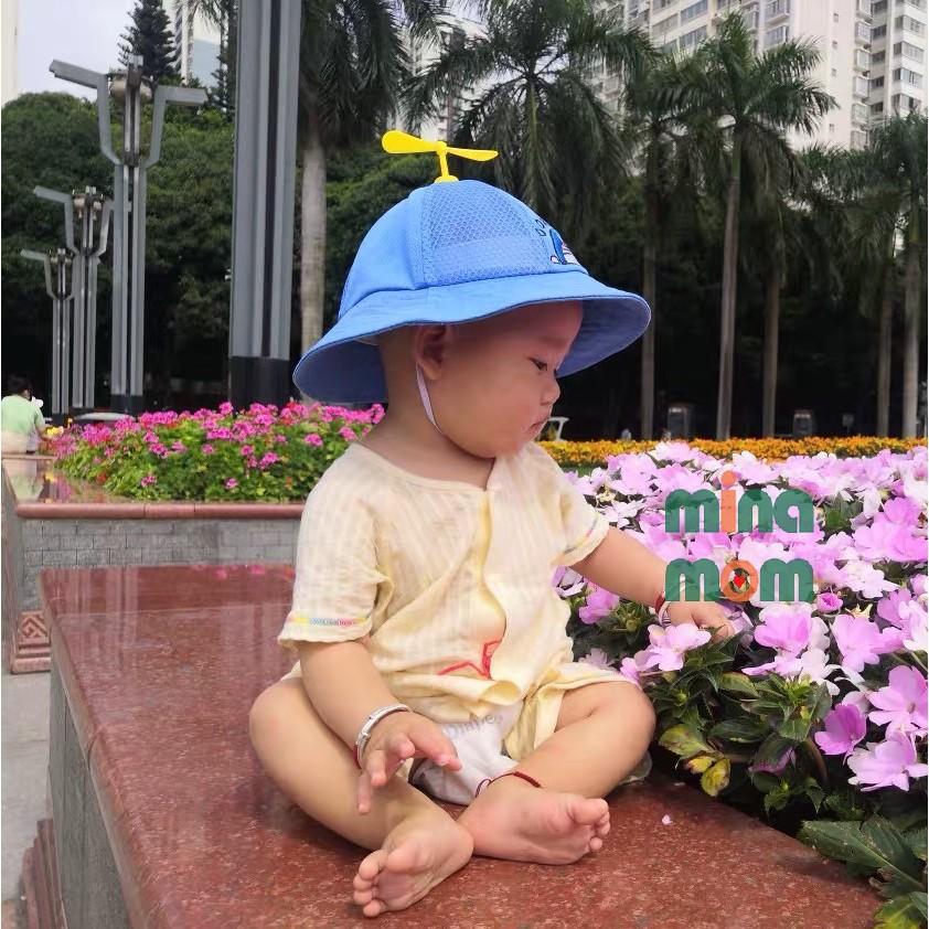 Nón vành tròn cho bé có quai TTB007 mũ bucket Doremon tai bèo size 1, 2, 3 tuổi cho bé trai, bé gái
