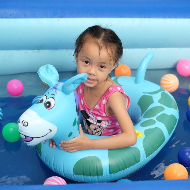 Phao bơi trẻ em hình thú chống lật-phao xỏ chân hình Hươu xanh