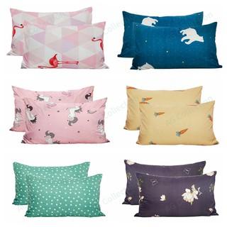 Set 2 bao gối chất liệu polyester in họa tiết hồng hạc kỳ lân xinh xắn