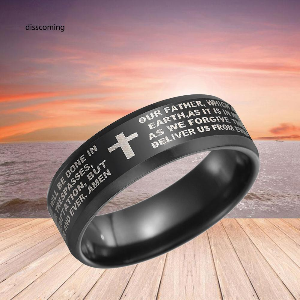 JZ-Religious Cross Scripture Finger Ring Men Theme Party Club Jewelry Praying Band
