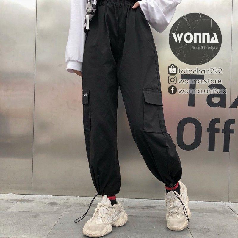 (SẴN BE) {Ảnh thật 6 ảnh cuối} Quần jogger box pant túi hộp mới trắng đen be nude unisex oversize Hàn street style