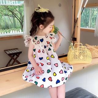 Váy tiệc công chúa váy công chúa cô gái váy công chúa cô gái nước ngoài váy cô gái tay bay váy tình yêu váy công chúa 21 trang phục mùa hè quần áo trẻ em mới 3-8 tuổi