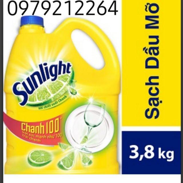 [Mã 267FMCGSALE giảm 8% đơn 500K] Nước rửa chén Sunlight Chanh 3,8kg