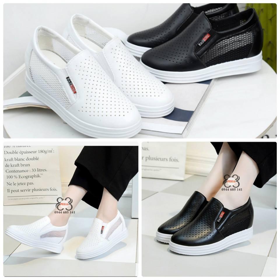 (SALE LẺ SIZE) Giày lười độn đế 7cm phối lưới L22-L