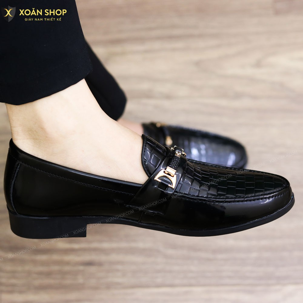 Giày Lười Nam Da Lì Đế Cao Su Đúc Mã L157 Màu Đen