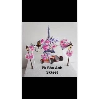 Set giấy tháp hoa trang trí bánh kem