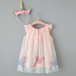 Váy đầm voan lót vải thô dệt hình ngựa Poly tặng kèm bờm bé gái size 110-140 cm