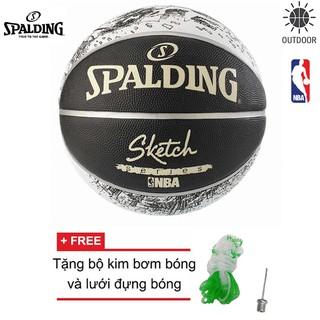 Bóng rổ Spalding NBA Sketch Outdoor Size 7 (có thể chơi ngoài trời và trong nhà) Tặng bộ kim bơm bóng và lưới đựng bóng
