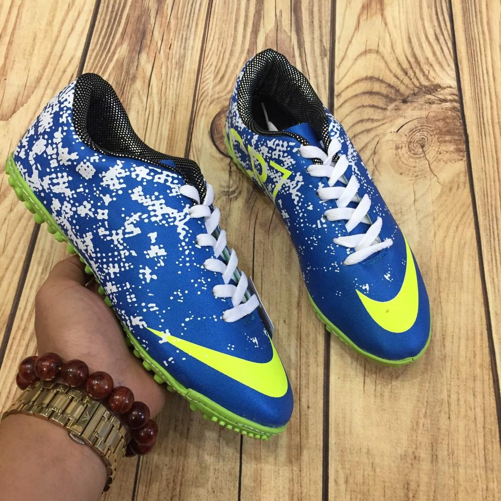 giày bóng đá nam phun sơn may đế xanh ( chất st