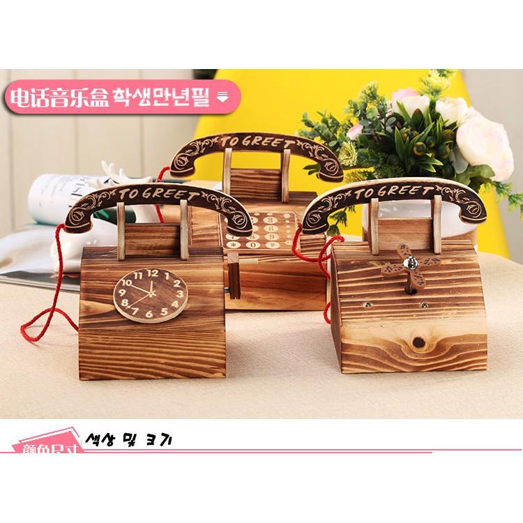 hộp nhạc bằng gỗ phong cách vintage