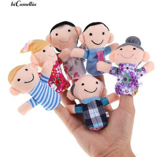 💮🐬6Pcs Kid Plush Cloth Play Game Learn Story Family Finger Puppets Toys