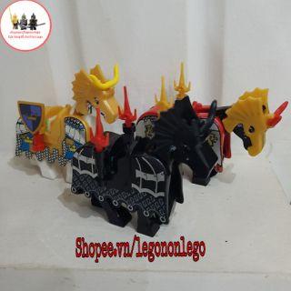 Minifigure Ngựa Lego trung cổ kèm giáp và base
