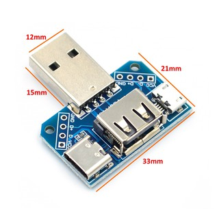 Mạch Chuyển Đổi USB sang USB Cái, Micro USB, Type C 2.54mm