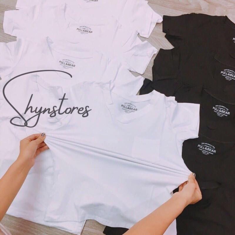 Áo phông nữ Shynstores - áo thun nữ basic cổ tim có túi ngực 95% vải cotton dày đẹp