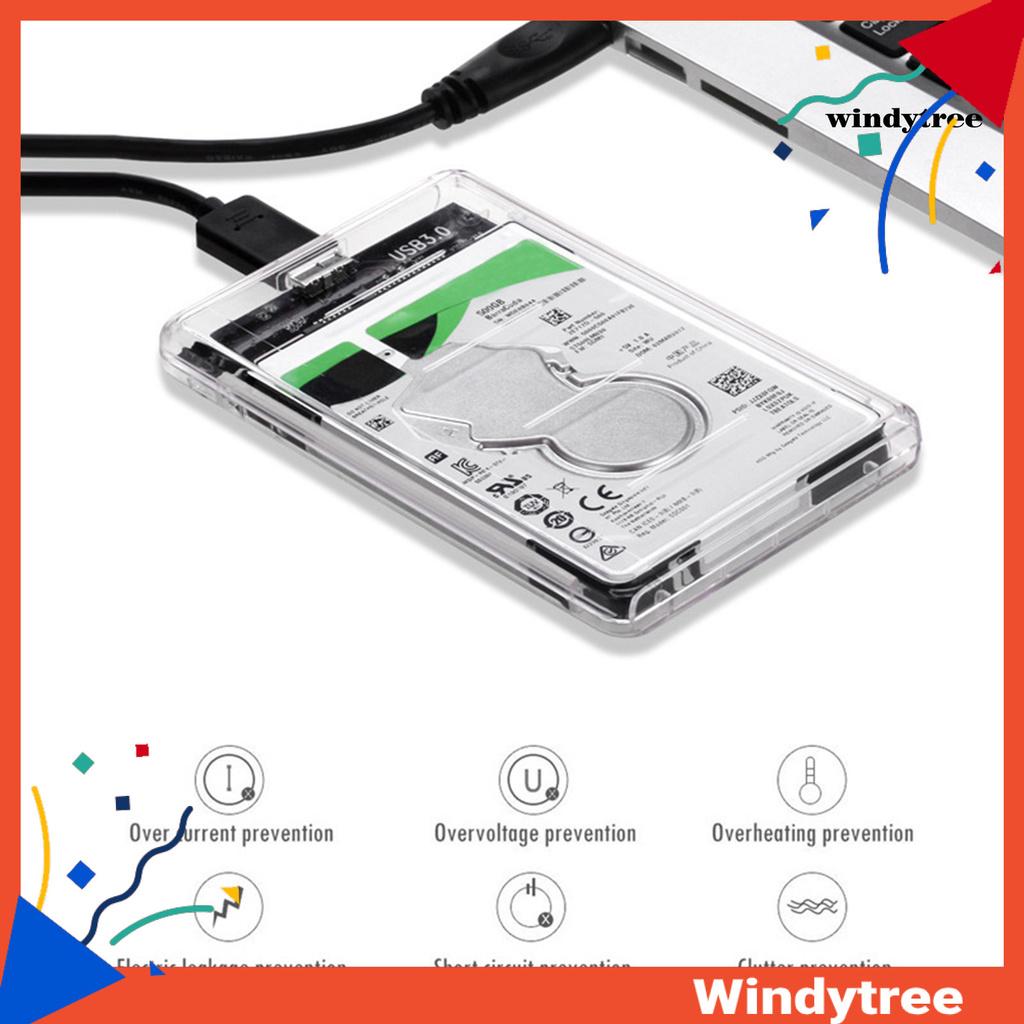 Hộp Đựng Ổ Cứng Trong Suốt 2.5 Inch Usb3.0 Sata Sang Micro B Hdd / Ssd Cho Laptop / Pc