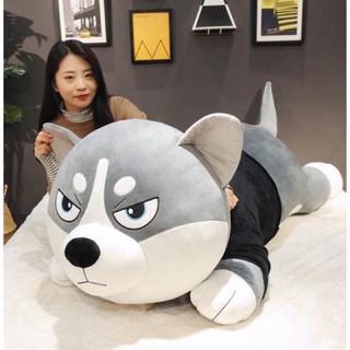 Gấu bông gối ôm chó husky alaska siêu to khổng lồ