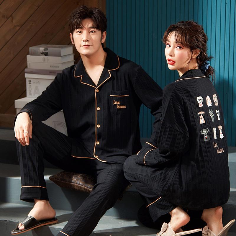 Mặc gì đẹp: Ngủ ngon với đồ mặc nhà thu đông cặp đôi cao cấp nam áo nữ đồ bộ pyjama pijama Đồ ngủ đôi Set Đồ Ngủ Dài Tay Phong Cách Hàn Quốc Quyến Rũ Dành Cho Nữ