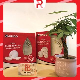 [TRỢ GIÁ] Bộ 3 bát, 5 đĩa thủy tinh ngọc cao cấp Rapido sang trọng - bát đĩa chén chính hãng thumbnail