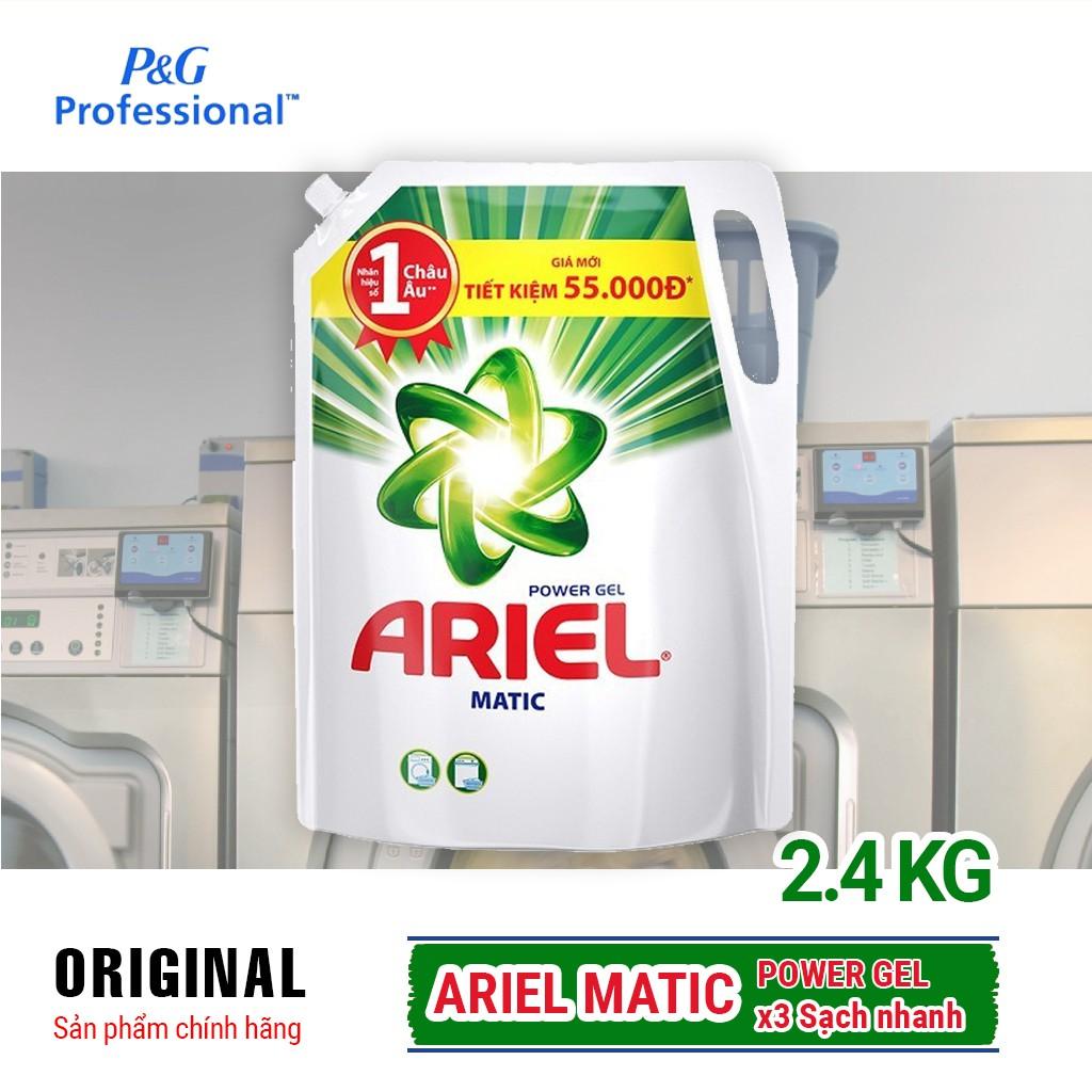 Túi Nước giặt Ariel Matic Base gel đậm đặc 2.4kg - Hãng phân phối chính thức