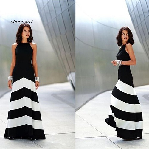 CHE♥Women Summer Sexy Black White Stripe Sleeveless Mop Floor Long Party Dress