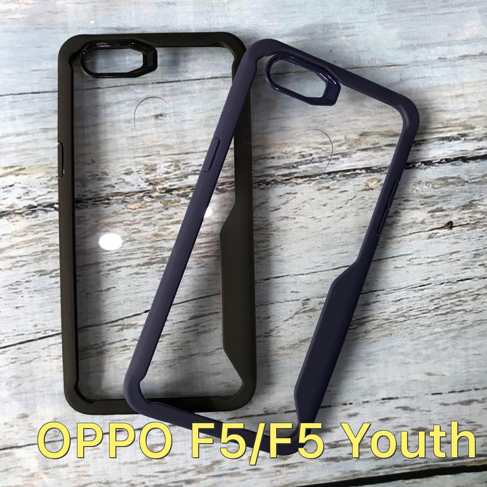 Ốp lưng kính trong suốt không ố, viền màu cách tân cho Oppo F5 giá rẻ
