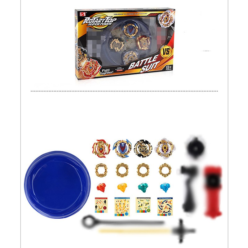 4PCS Beyblade Burst Set Arena Stadium Set with String Launcher Kids Gifts