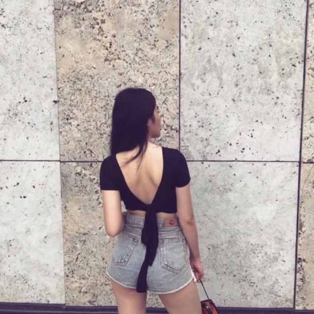 Áo kiểu nơ lưng thun gân kèm sẵn mút ngực