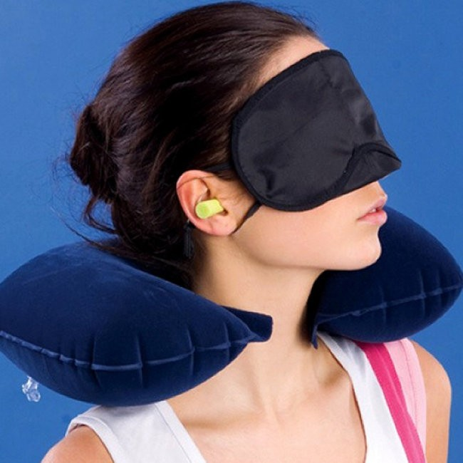 15k - Bộ gối hơi du lịch gồm: Gối hơi, bịt mắt, bịt tai giá sỉ và lẻ rẻ nhất