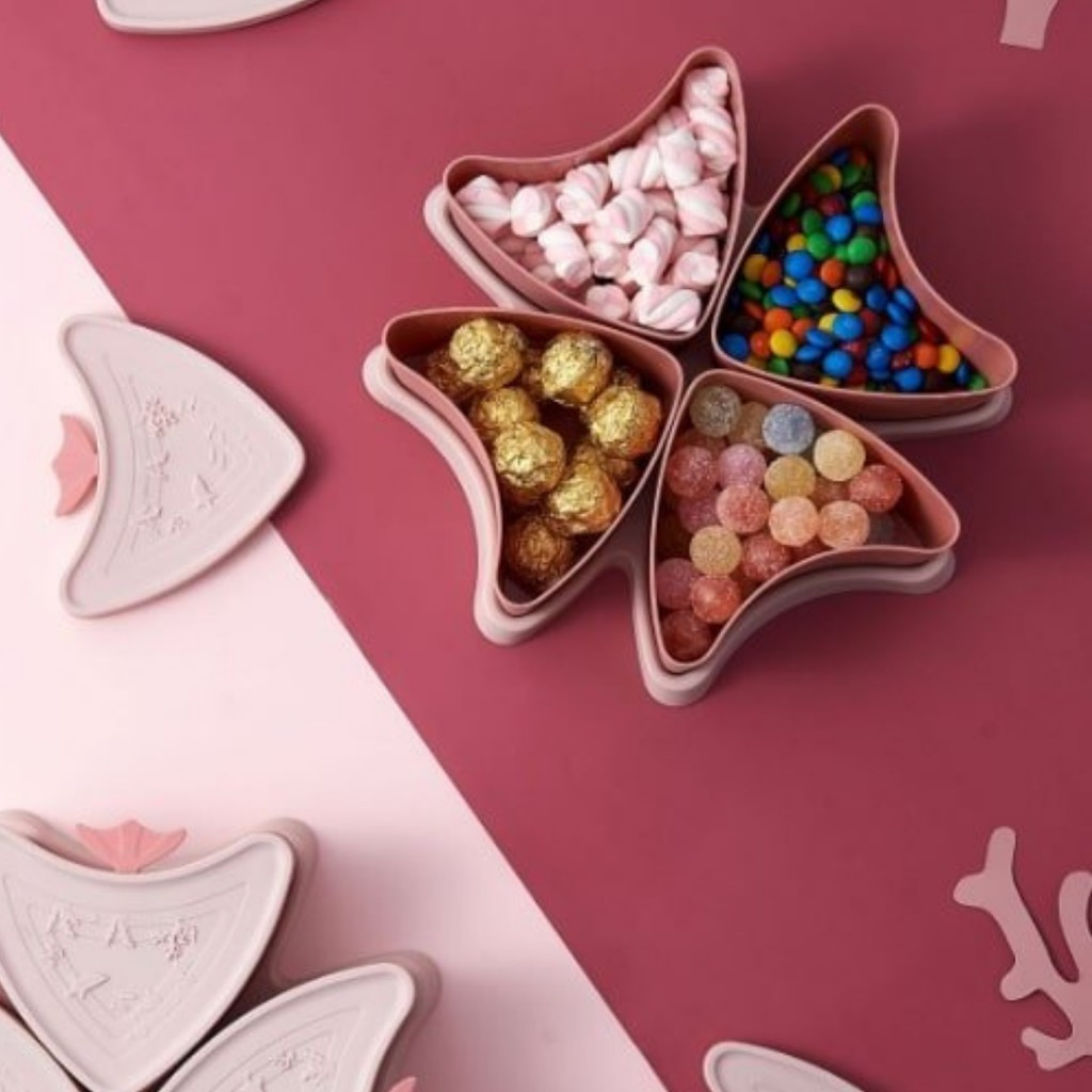 FREE SHIP] Khay Mứt Tết Hình Con Cá Đựng Bánh Kẹo,Hoa Quả Sấy-Chia Nhiều  Ngăn-Tháo Rời Ngăn- Tết Tân Sửu chính hãng