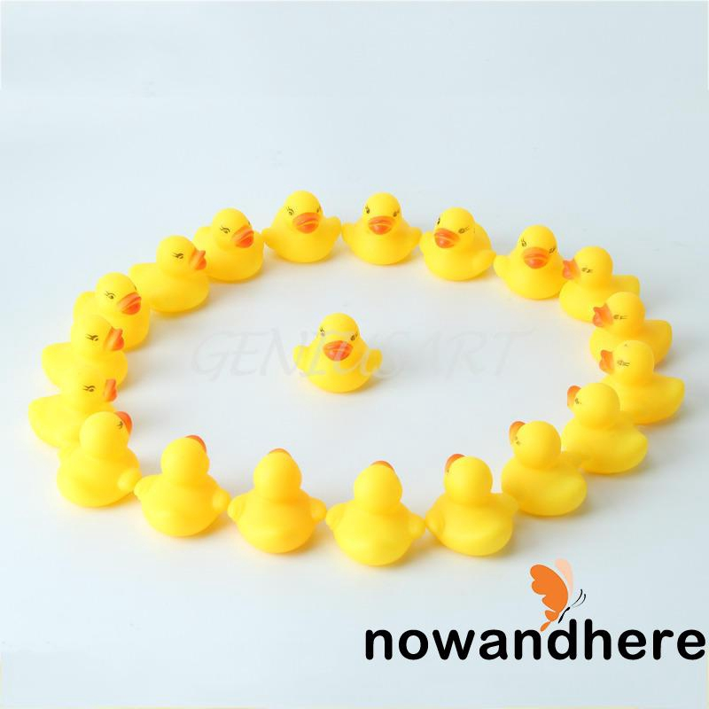 AHA-20pcs Mini Yellow Rubber Ducks Squeaky Bath Toy Hot