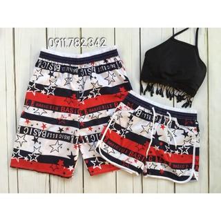 Set quần đôi nam nữ mặc đi biển họa tiết sao đen đỏ kèm áo tua rua đẹp thumbnail