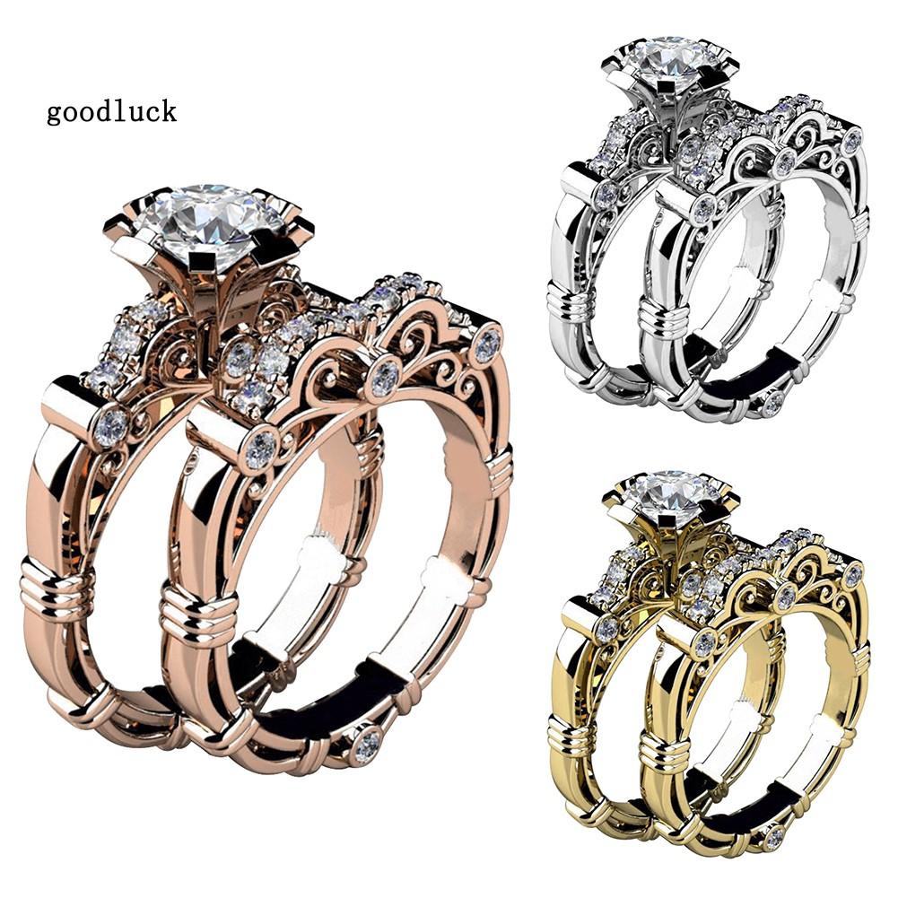 Bộ 2 nhẫn đính đá kim cương thời trang dành cho nữ