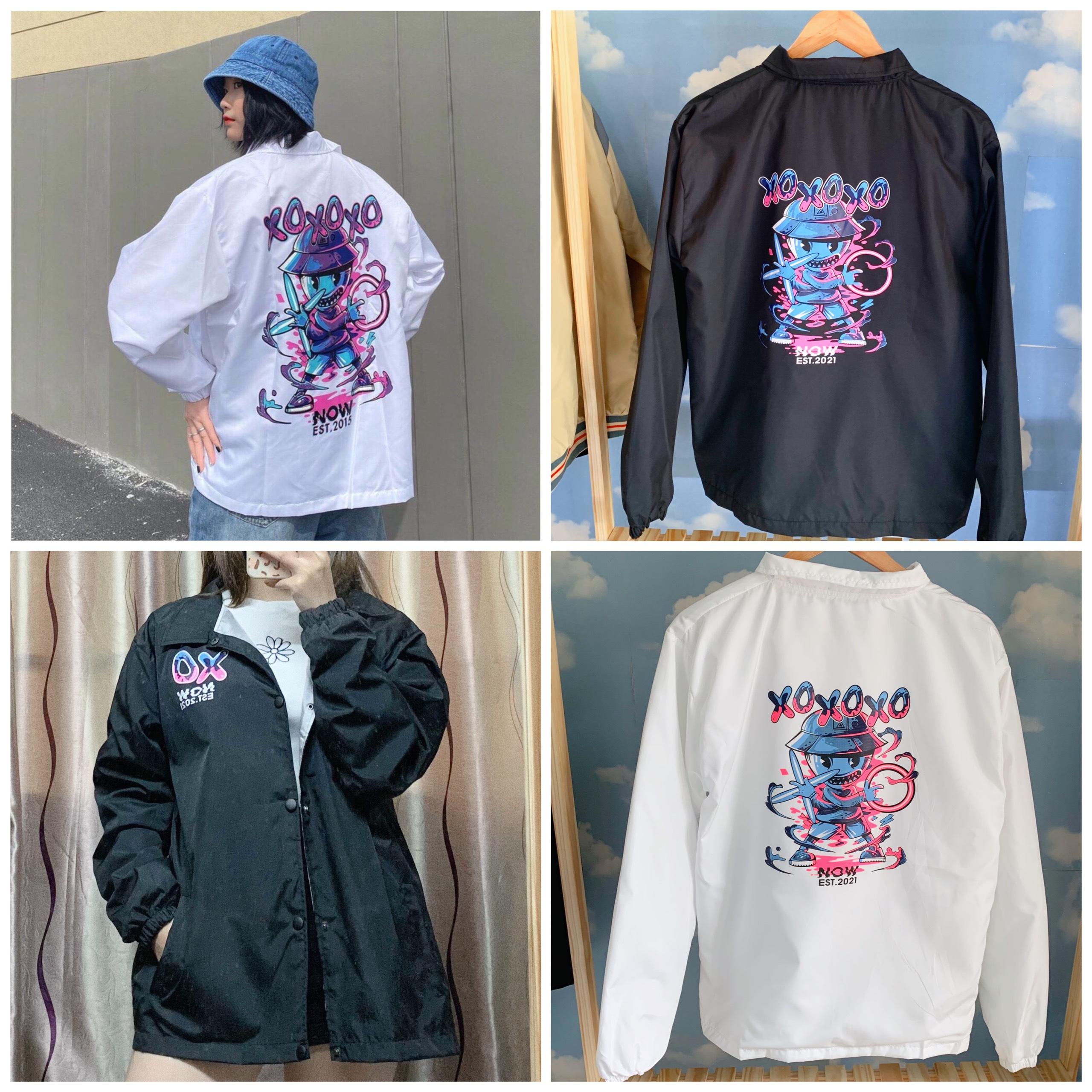 Áo Khoác Dù Jacket Unisex Form Rộng 2 Lớp Nam Nữ  XO.XO Trắng, Đen (Kèm ảnh thật Shop tự chụp)
