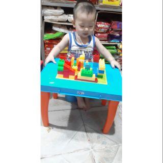 Bàn xếp hình lego enfa cho bé
