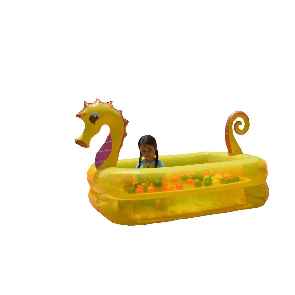 ( Xả Kho Bán Sỉ ) Bể Bơi Phao Cho Bé Hình Cá Ngựa Vàng – 2 Tầng – 1m3 – Có Đáy Chống Trượt ( Kèm Video Thật)