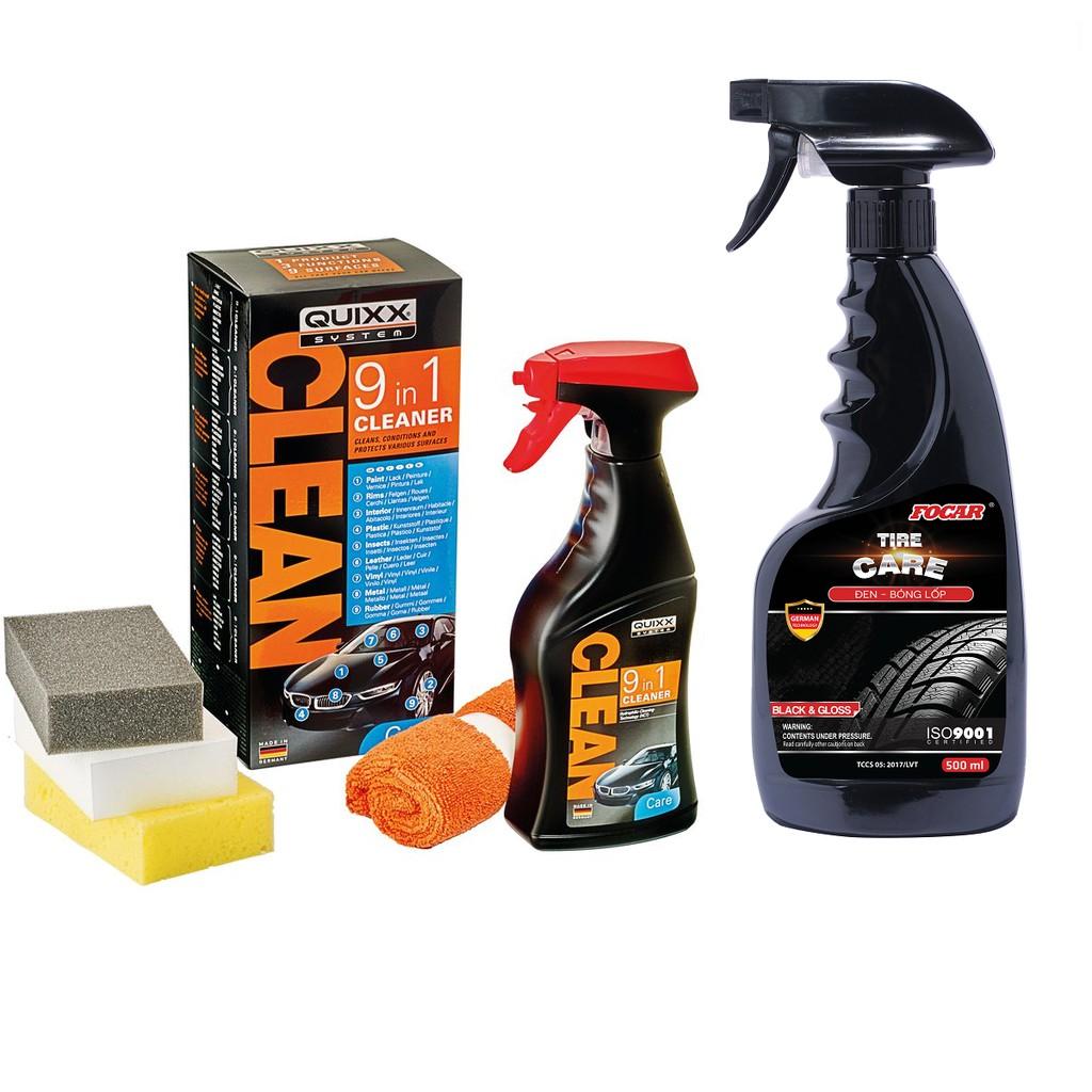 Bộ sản phẩm tẩy rửa vệ sinh ô tô Quixx 9in 1+ Dưỡng đen bóng lốp Focar 500ml