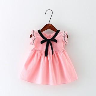 Váy công chúa thô đũi tay bèo nơ cổ mới nhất hè 2020 cho bé gái siêu yêu - Váy đũi tay bèo nơ cổ