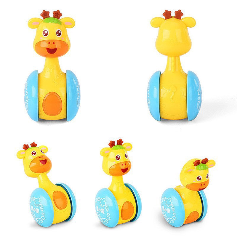 Cartoon Giraffe Tumbler Doll Roly-poly Toy Funny Rattles Ring Bell Kid Gift