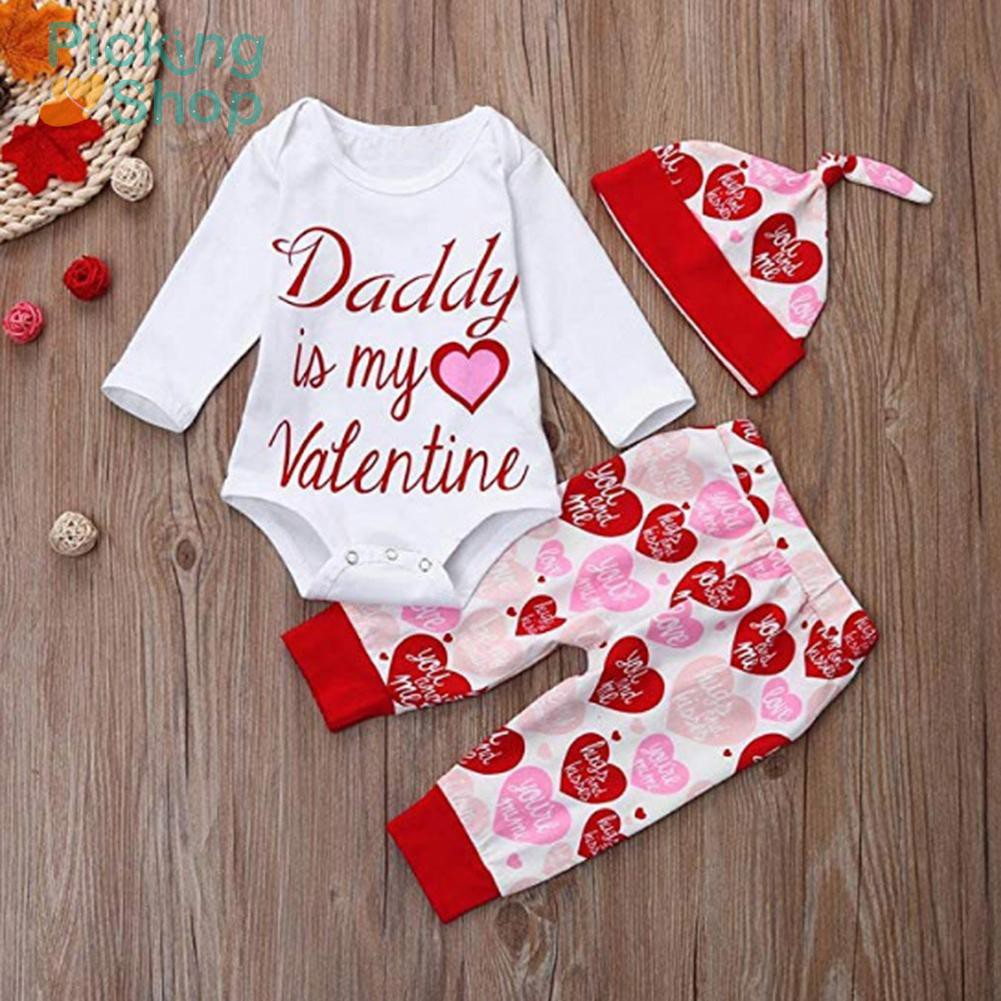 Baby Warm Soft Letters Print Valentine Day Rompers Pants Hat Clothing Set