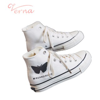 Giày thể thao vải bạt Verna cổ cao in hình bướm dạ quang phong cách mùa hè 2021 cho nữ