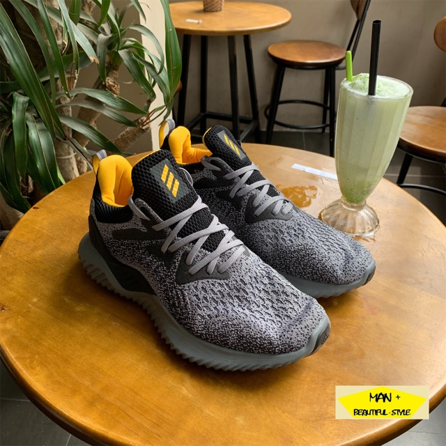 (full box) giày thể thao adidas alphabounce xám gót vàng