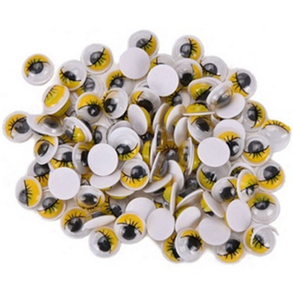 Coloured Eyelashes Wiggly Wobbly Googly DIY Eyes Toy Accessories 100pcs