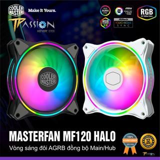 Quạt tản nhiệt fan case 12cm Cooler Master MasterFan MF120 HALO – LED Rainbow Argb 2 vòng ring cực đẹp, hiệu năng cao