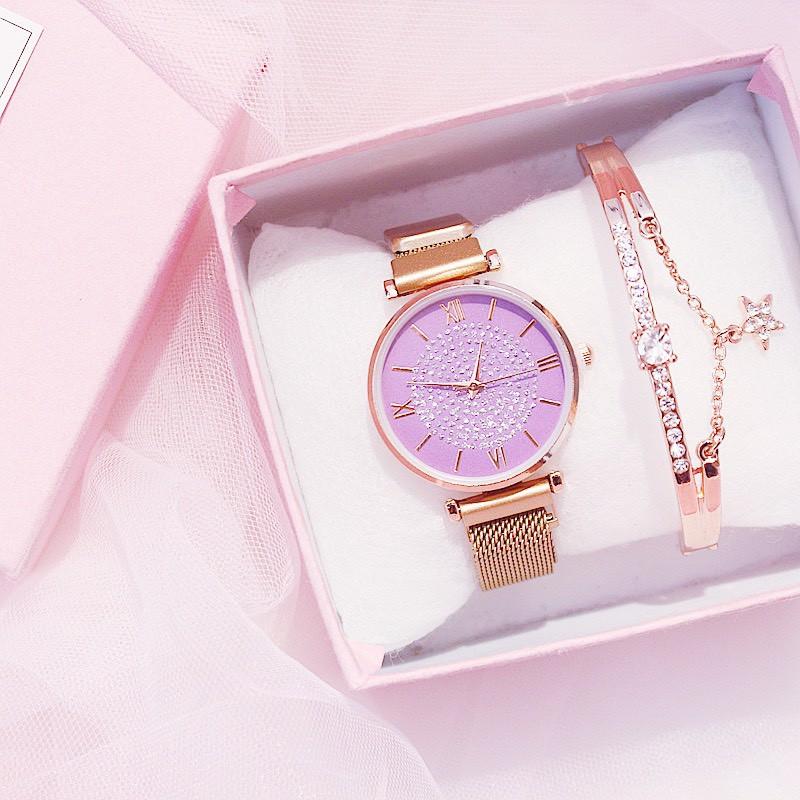 Đồng hồ thời trang nữ thời trang dây lưới nam châm siêu đẹp DH88